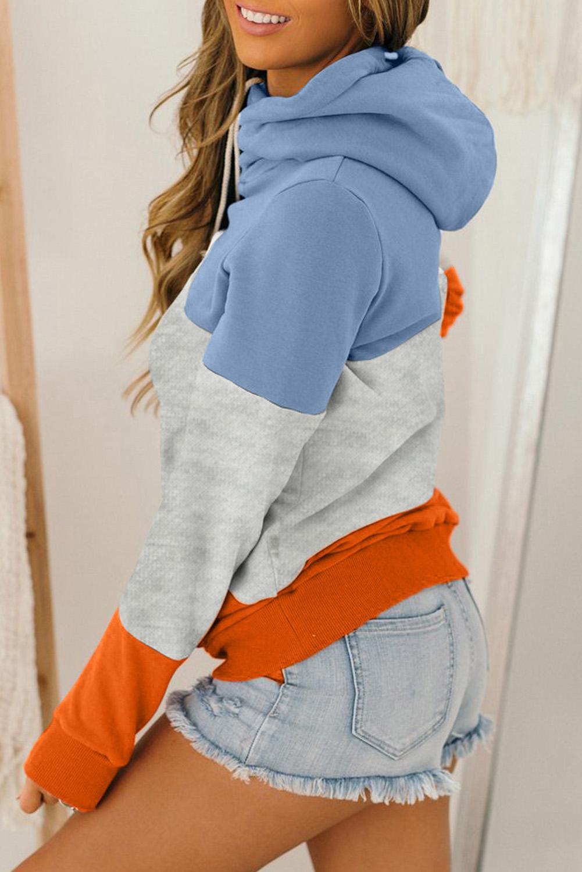 橙蓝拼色高领长袖口袋宽松舒适连帽衫 LC2532568