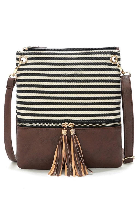 褐色时尚条纹拉链斜挎包 LC003042