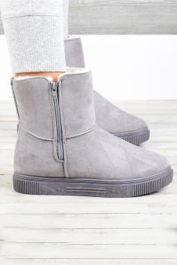 灰色拉链橡胶平底毛绒保暖雪地靴
