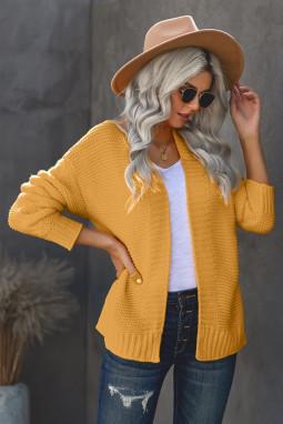 黄色休闲长袖厚实针织女士开衫
