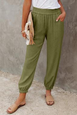 绿色亚麻口袋松紧腰宽松透气休闲裤