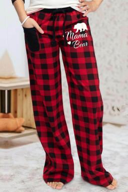 红色格纹舒适耐用宽松休闲裤