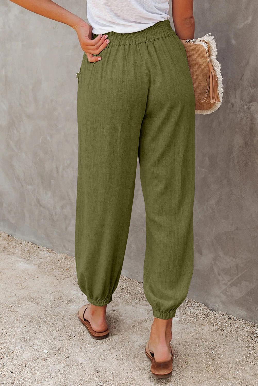 绿色亚麻口袋松紧腰宽松透气休闲裤 LC77936