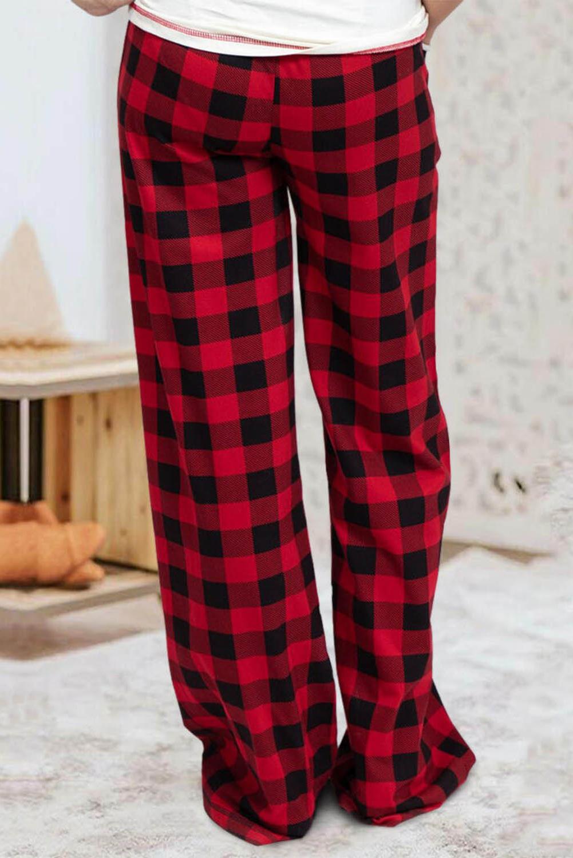 红色格纹舒适耐用宽松休闲裤 LC77995