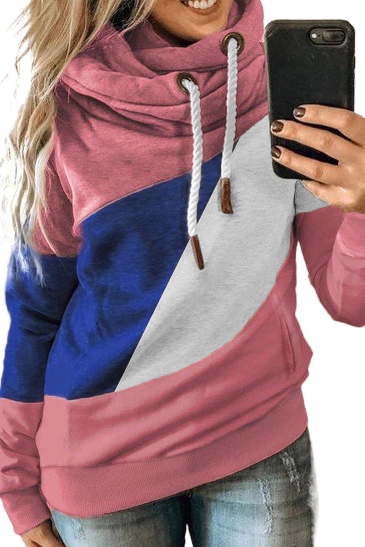 时尚拼色宽松舒适保暖长袖高领套衫 LC2533351