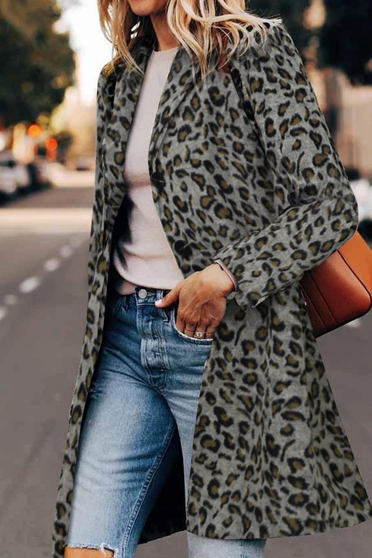 时尚流行豹纹长袖翻领中长款大衣外套 LC8511009