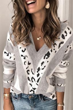 灰色动物斑纹印花长袖V领舒适套头毛衣