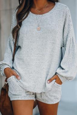 灰色条纹气球袖棉质混纺上衣和抽绳短裤休闲运动套装