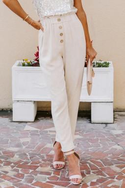 杏色亚麻混纺排扣装饰侧口袋纸袋腰休闲裤