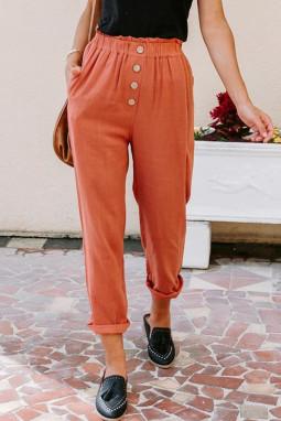 橙色亚麻混纺排扣装饰侧口袋纸袋腰休闲裤