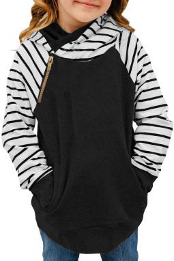 黑色条纹拼接斜拉链儿童舒适套头帽衫