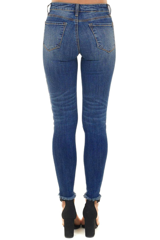 蓝色破洞豹纹补丁水洗修身牛仔裤 LC78418
