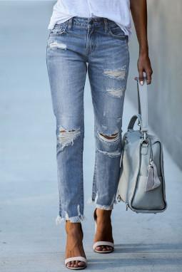浅蓝色破洞磨损做旧舒适耐用牛仔长裤