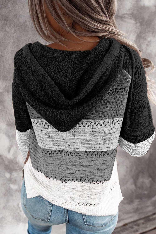 黑色时尚拼色宽松舒适长袖拉链开合连帽衫 LC2531016