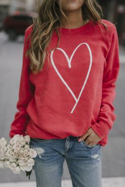 红色简约爱心图案女士套头长袖卫衣