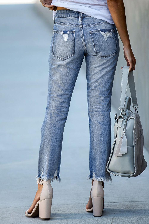 浅蓝色破洞磨损做旧舒适耐用牛仔长裤 LC78363
