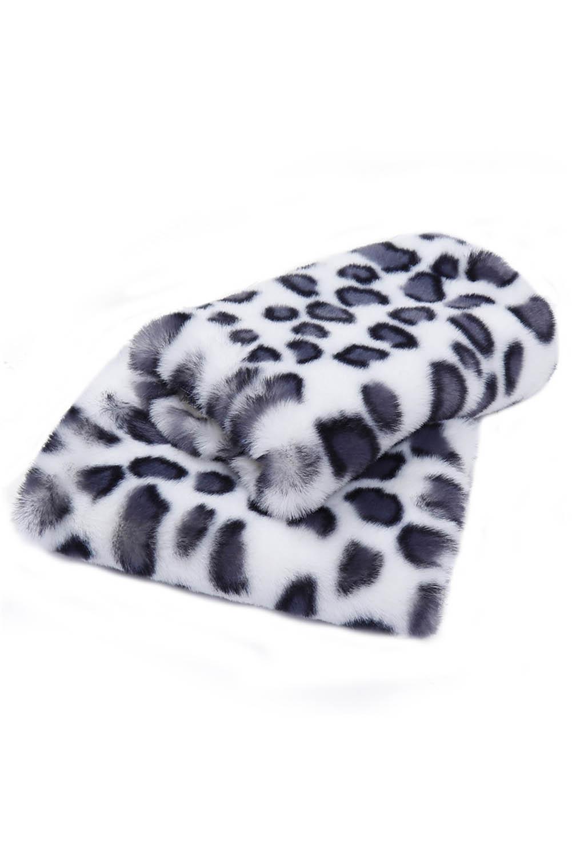 白色豹纹印花毛绒保暖无指手套 LC002069