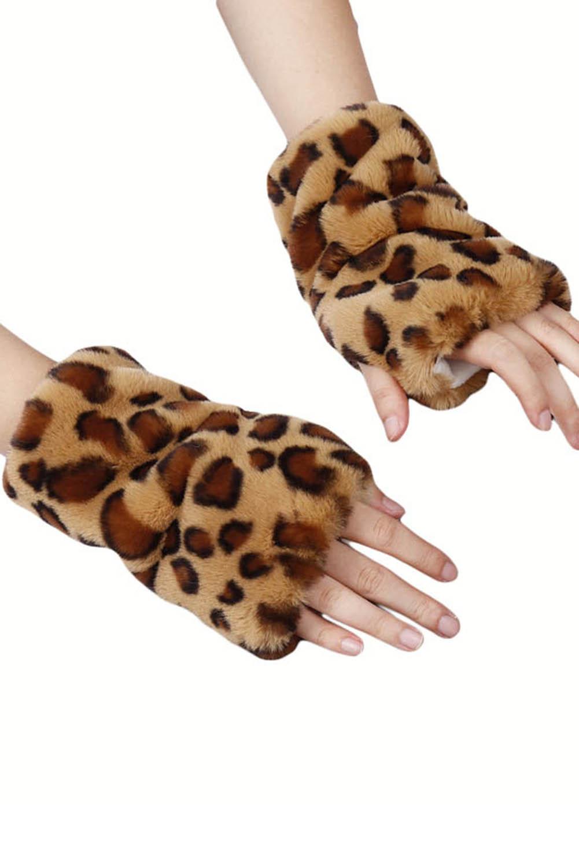卡其色豹纹印花毛绒保暖无指手套 LC002069