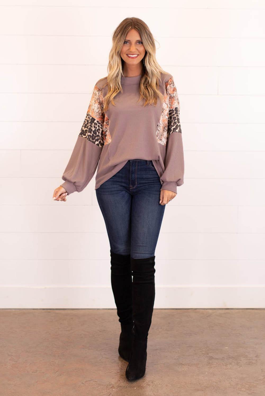 时尚流行混合印花袖宽松舒适女士上衣 LC2532806