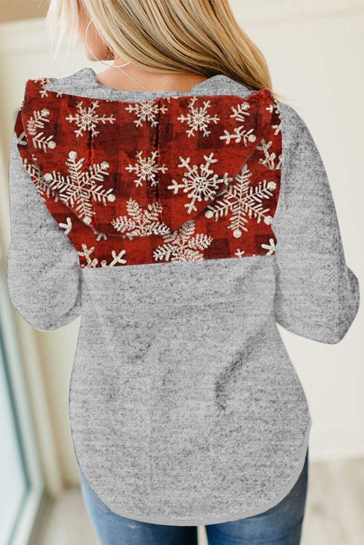 圣诞雪花格子拼接长袖抽绳女士连帽衫 LC2533576