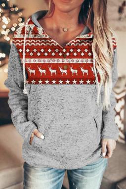 圣诞驯鹿拼接长袖抽绳女士连帽衫