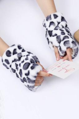 白色豹纹印花毛绒保暖无指手套
