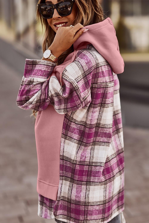 粉色流行休闲格子拼接抽绳连帽衫 LC2533357