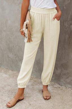 米黄色亚麻口袋松紧腰宽松透气休闲裤