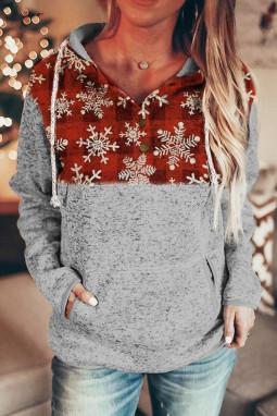 圣诞雪花格子拼接长袖抽绳女士连帽衫