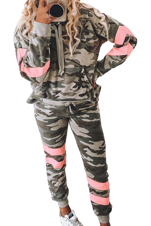 绿色迷彩印花撞色长袖套头休闲套装 LC451612