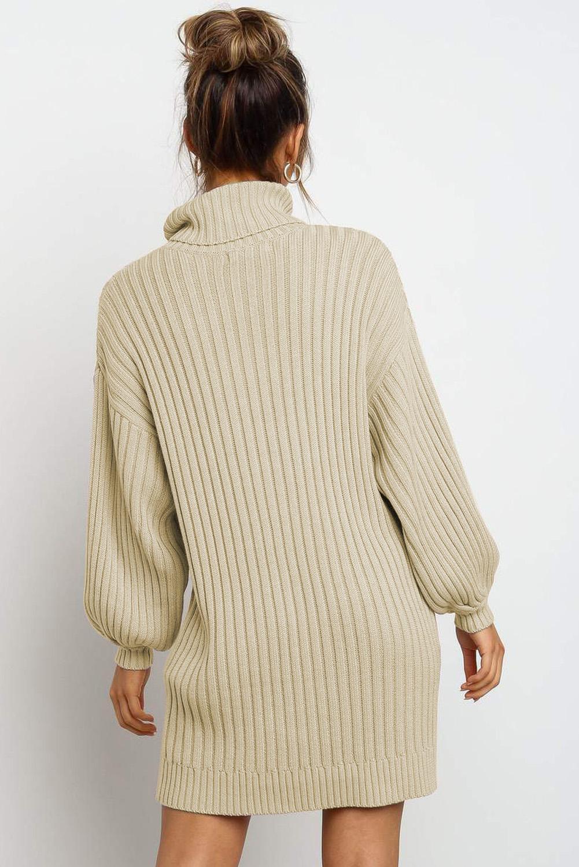 杏色优雅高领气球袖毛衣连衣裙 LC273066