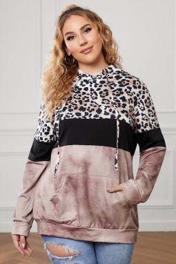 褐色豹纹拼色袋鼠口袋长袖加大码连帽衫