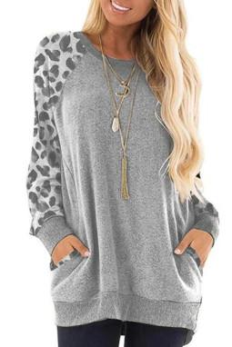 灰色豹纹印花插肩长袖休闲上衣 LC2532391