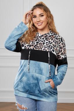 蓝色豹纹拼色袋鼠口袋长袖加大码连帽衫