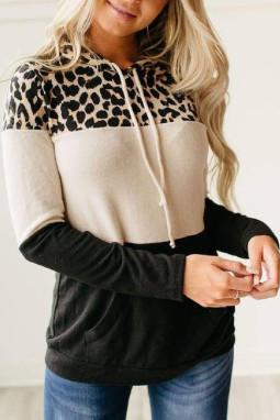时尚流行豹纹撞色长袖抽绳连帽衫