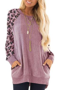 紫粉色豹纹印花插肩长袖休闲上衣