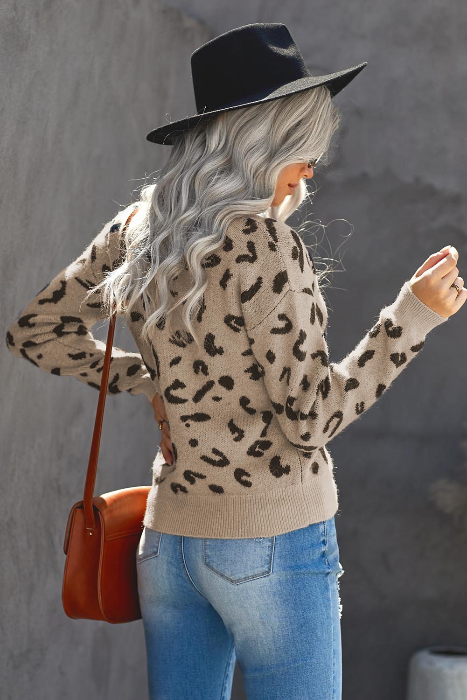 卡其色罗纹细节圆领豹纹长袖毛衣 LC272288