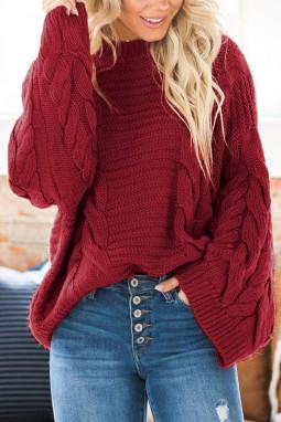 红色圆领蝙蝠袖厚实保暖电缆针织毛衣
