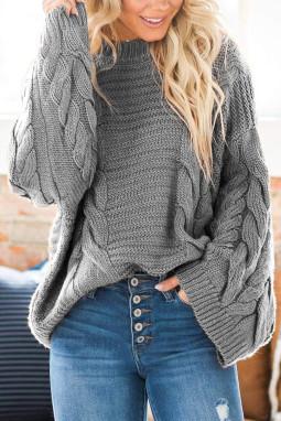 灰色圆领蝙蝠袖厚实保暖电缆针织毛衣