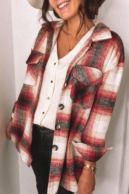 红色流行格纹别致经典口袋排扣衬衫式外套