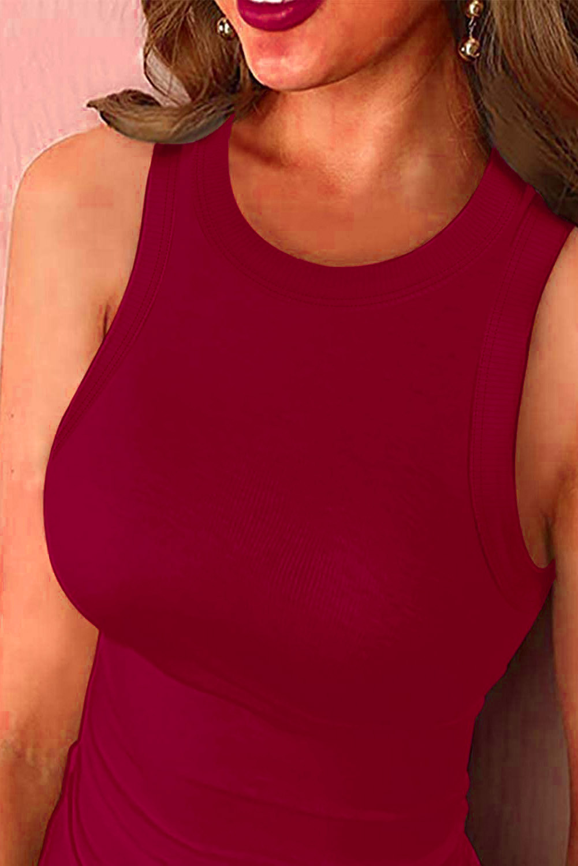 红色简约圆领无袖紧身弹力舒适休闲背心 LC256047