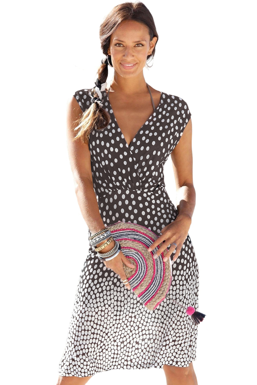 时尚渐变波点V领无袖度假休闲沙滩连衣裙 LC42323