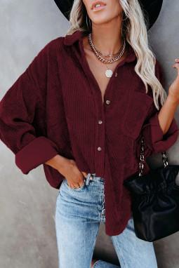酒红色时尚复古灯芯绒纽扣式长袖衬衫上衣