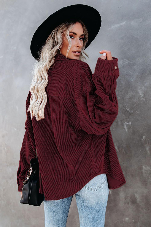 酒红色时尚复古灯芯绒纽扣式长袖衬衫上衣 LC255320