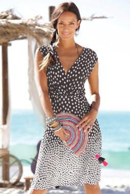 时尚渐变波点V领无袖度假休闲沙滩连衣裙