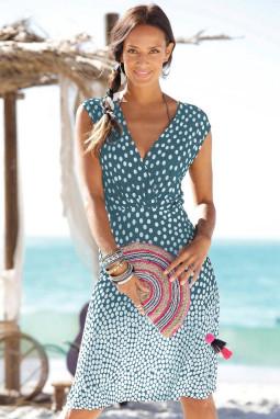 蓝色渐变波点V领无袖度假休闲沙滩连衣裙