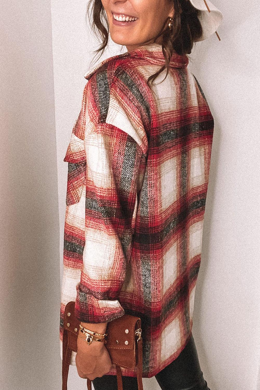 红色流行格纹别致经典口袋排扣衬衫式外套 LC851787
