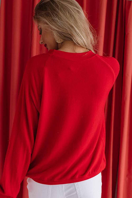 红色圆领字母印花情人节长袖套头卫衣 LC2534516