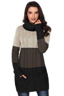 流行拼色垂褶领长袖针织毛衣连衣裙