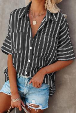 黑色短袖双口袋经典条纹女士衬衫